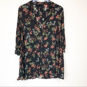 Zara Black Floral Button Up Tunic